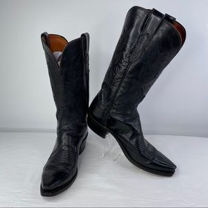 1883 Lucchese N4501 Black Cowboy Boots, size 8.5